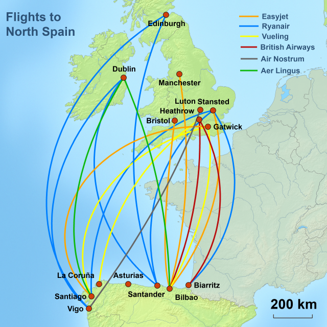 MAP OF FLIGHTS UK TO NORTH SPAIN